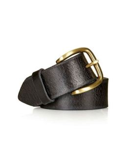 crackle black leather belt