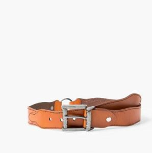 Engraved buckle brown leather belt