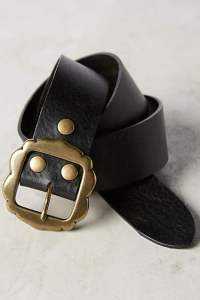 magnolia buckle black leather belt