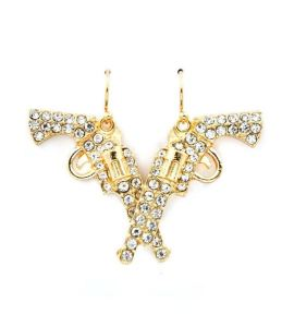 golden bejeweled revolver earrings