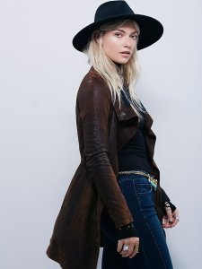 Distressed leather jacket in brown mid length