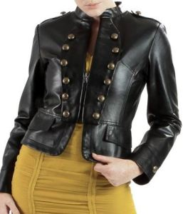 Black Lambskin Military Leather Jacket