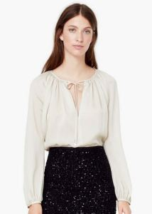 flowy tie-front textured blouse