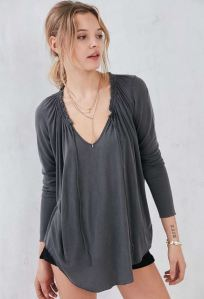 Tie-Front loose-fitting gray Blouse