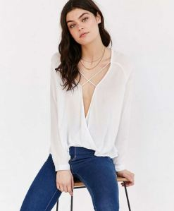 billowy plunging cross-front blouse