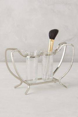 Vintage inspired makeup brush holder