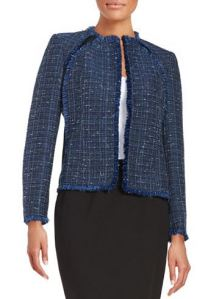 multi blue open front tweed blazer