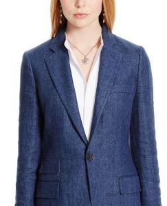 indigo blue linen tweed blazer