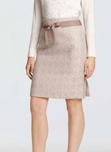 beige metallic tweed pencil skirt