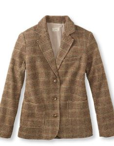 plaid brown tweed blazer