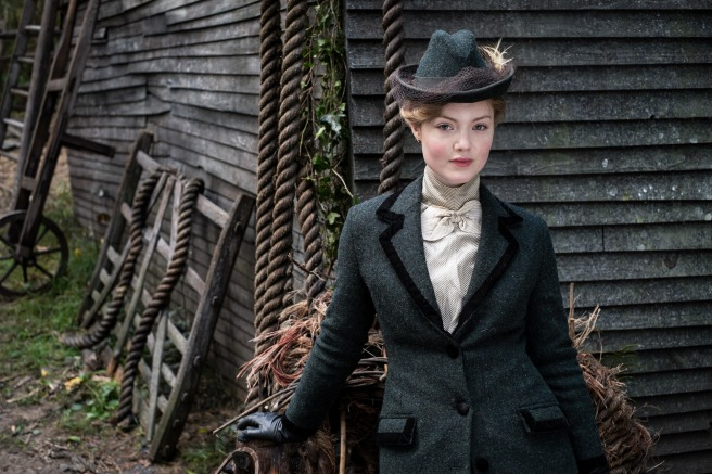 Lady Chatterley's Lover 2015: blue tweed riding habit