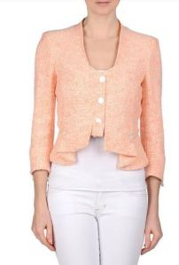 coral tweed collarless blazer