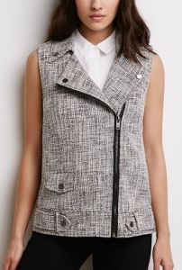 gray tweed moto vest