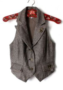 brown beige tweed vest