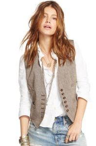 brown herringbone tweed vest