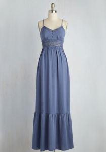 blue lace-trimmed neckline button-front maxi dress