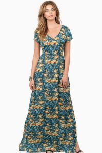 short sleeve teal floral maxi dress with strappy back