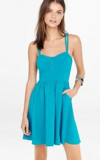 Blue Button-front strappy cami sundress