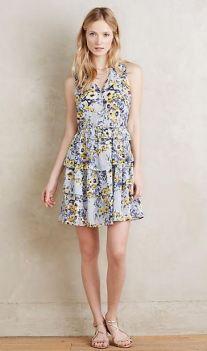 light blue floral ruffled dress