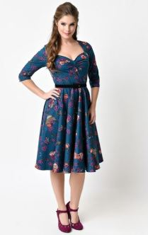 Teal Floral three-quarter sleeve sweetheart neckline dress