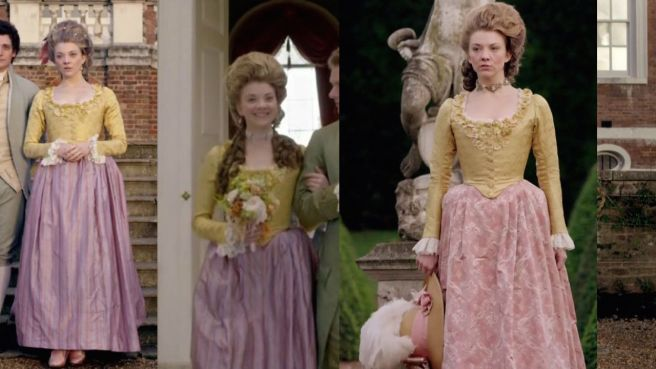 The Scandalous Lady W Movie costume: Yellow and Pink