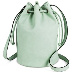 Mint Drawstring Crossbody Bucket Handbag