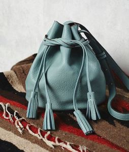 jade drawstring bucket bag with tassels