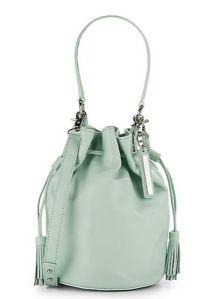 mint green drawstring bucket bag