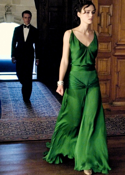 Keira Knightley as Cecilia in Atonement green dress
