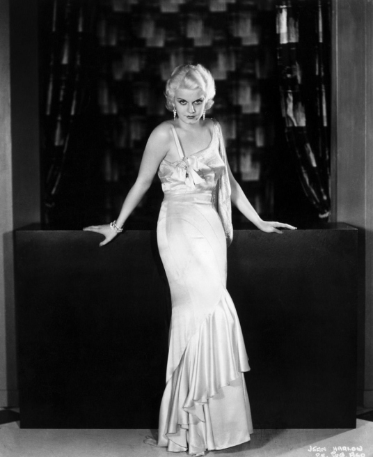 Jean Harlow in a 1930s style evening gown
