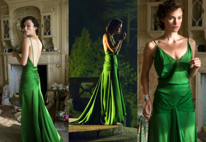 Keira Knightley Atonement 1930s green gown