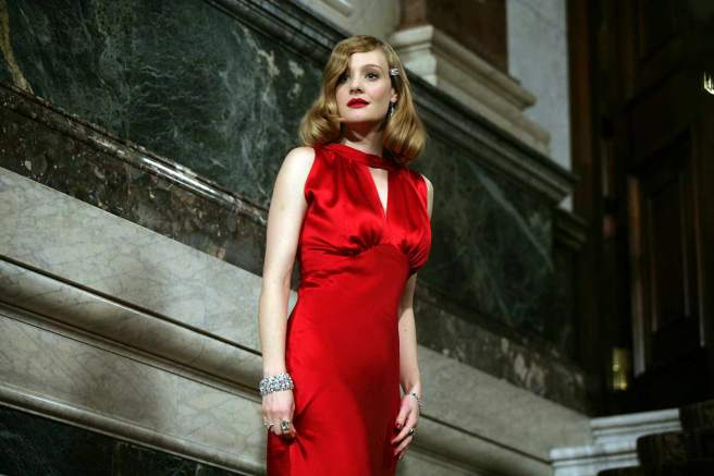 Romola Garai as Anne in Glorious 39 red gown